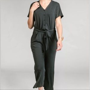 Belted Jumpsuit, Small, NWT, Blackcharcoal gray